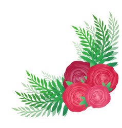 Flower angular pattern with roses and leaves vector