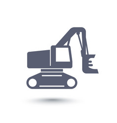 forest harvester icon track feller buncher vector image vector image