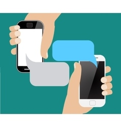 Hands holing smartphone with blank speech bubble vector image