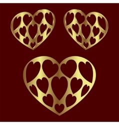 Heart gold color vector