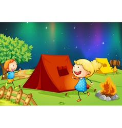 kids near fire vector image vector image