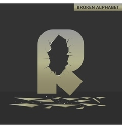 Letter r broken mirror vector