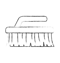 monochrome blurred silhouette of cleaning brush vector image