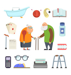 old couple with assistants tools vector image vector image