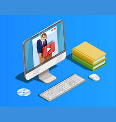 remote learning workspace composition vector image vector image