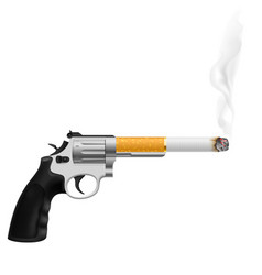 Revolver with a cigarette on white vector
