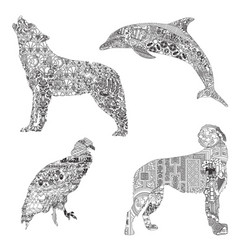 Set of animals with ethnic ornaments vector