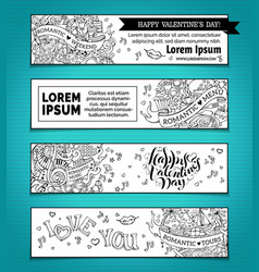 Set of horizontal love doodles banners vector