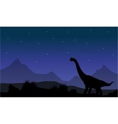 Silhouette of brachiosaurus in park vector