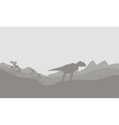 Silhouette of mapusaurus with fog vector