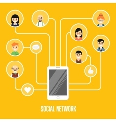 Social network banner with connected people vector image