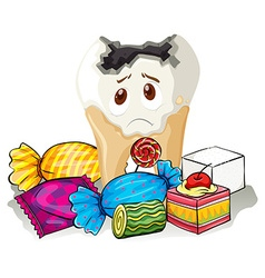 Tooth decay and sweet candy vector