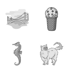 Travel animals and other monochrome icon in vector