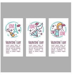 Valentines day icons stamp sticker label baner vector