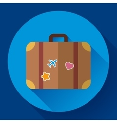 Vintage travel suitcase icon with long vector
