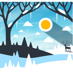 Winter landscape with snow on field and icicles vector