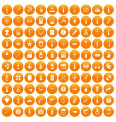 100 smuggling goods icons set orange vector