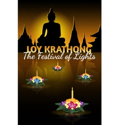 Loy krathong greeting card with floating krathongs vector