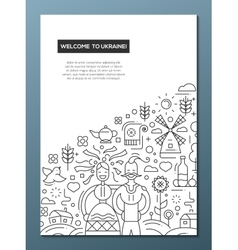 Welcome to ukaine- line design brochure poster vector