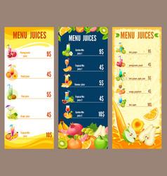 colorful natural juices menu template vector image