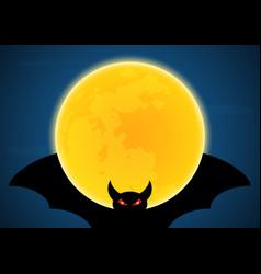 Halloween flying bat and moon vector
