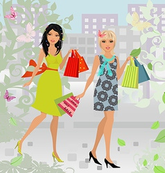 fashion young women with purchase in city for your vector image
