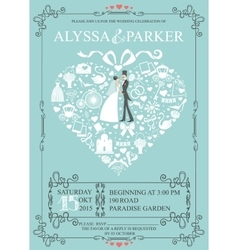 Wedding invitation with heart compositionBride vector image