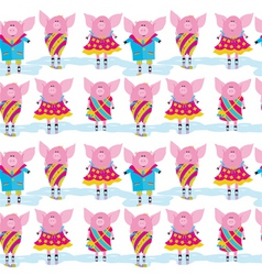 seamless pattern cartoon pigs vector image