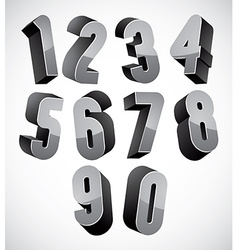 3d numbers set vector