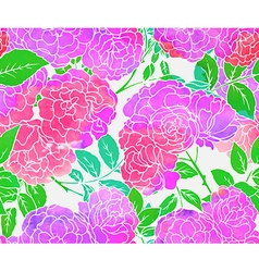Seamless pattern with pink bush roses vector image