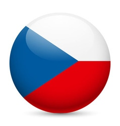 Round glossy icon of czech republic vector