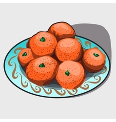 Pile of tangerines on a plate vector