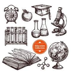 Education hand drawn sketch set vector