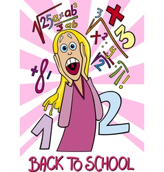 Girl frightened of coming back to school vector