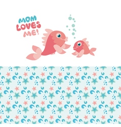 Pastel color little fish family vector