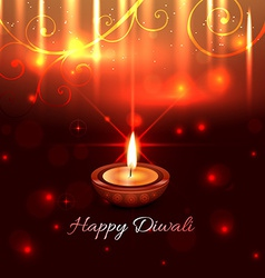 Artistic design of diwali diya vector