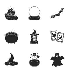 Black and white magic set icons in black style vector