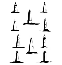 Black and white old lighthouses isolated on white vector image vector image