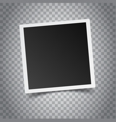Blank retro photo frame on grey background vector