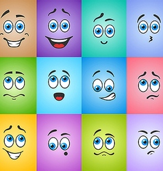 Blue eyes in emotions on colored vector image
