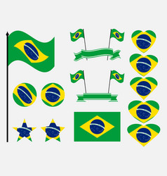 brazil flag set collection of symbols flag vector image