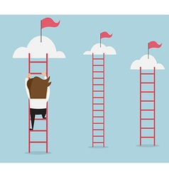 businessman climbing the ladder for red flag vector image