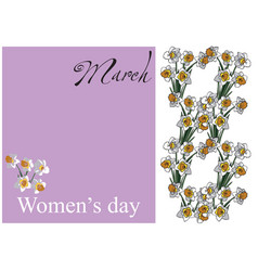 card women day flowers vector image vector image