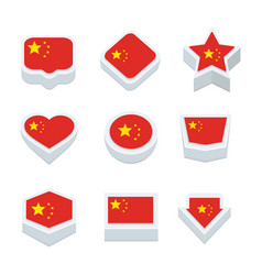 China flags icons and button set nine styles vector