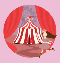 Circus tent amusement park kid girls children open vector