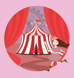 circus tent amusement park kid girls children open vector image