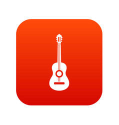 classical guitar icon digital red vector image vector image