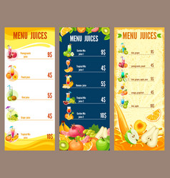 Colorful natural juices menu template vector