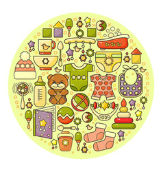Cute colorful baby icon circle backgroun vector