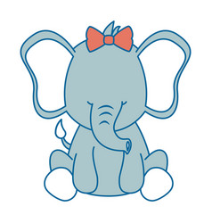 cute female elephant character icon vector image